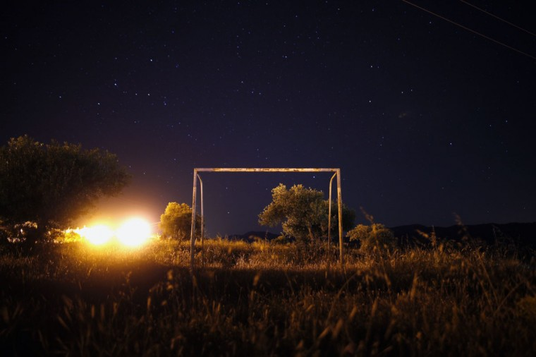 A goalpost stands in a field on the outskirts of Ronda, near Malaga, southern Spain on June 5, 2014. (REUTERS/Jon Nazca)
