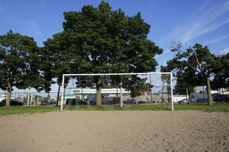 A soccer goalpost stands in a sports field in Somerville, Mass., on June 2, 2014. (REUTERS/Brian Snyder)