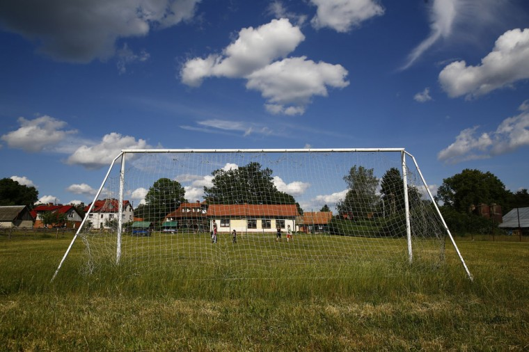 A goalpost stands in the village of Sasek Maly near Szczytno, north-eastern Poland on May 31, 2014. (REUTERS/Kacper Pempel)