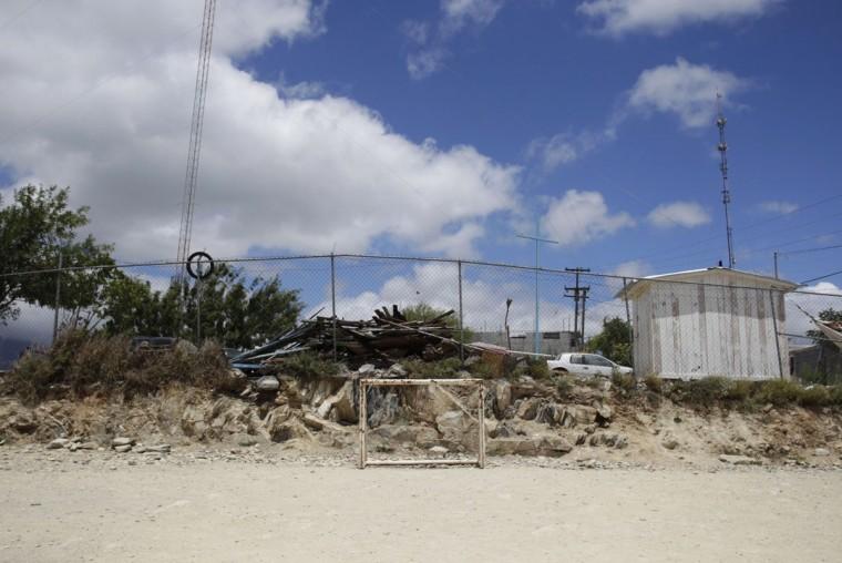 A goalpost stands in the Independencia neighborhood of Monterrey, Mexico on June 6, 2014. (REUTERS/Daniel Becerril)