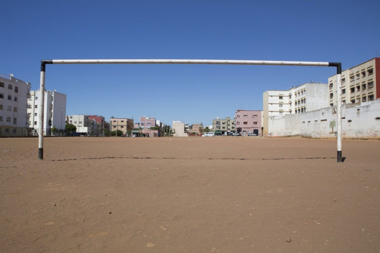 A soccer goalpost stands in a field in Rabat, Morocco on June 3, 2014. (REUTERS/Youssef Boudlal)