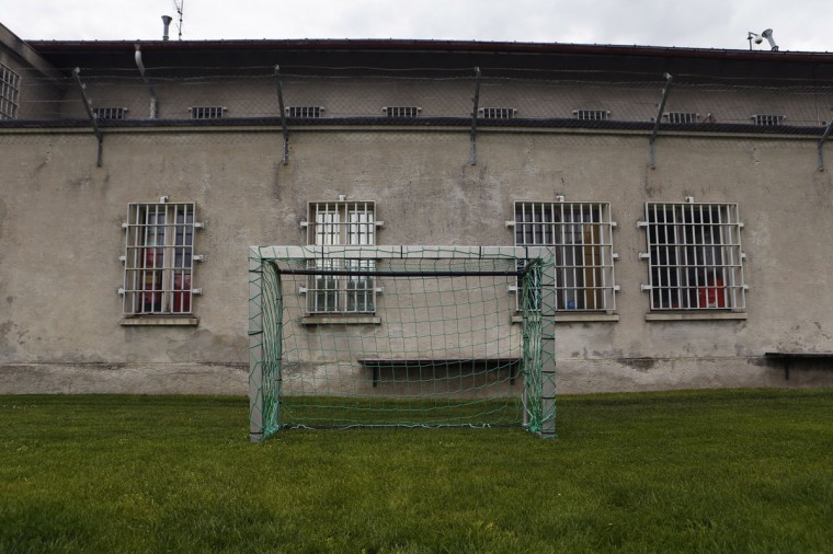 A goalpost stands in Cretelongue jail in Granges near Sion, Switzerland on May 30, 2014. (REUTERS/Denis Balibouse)