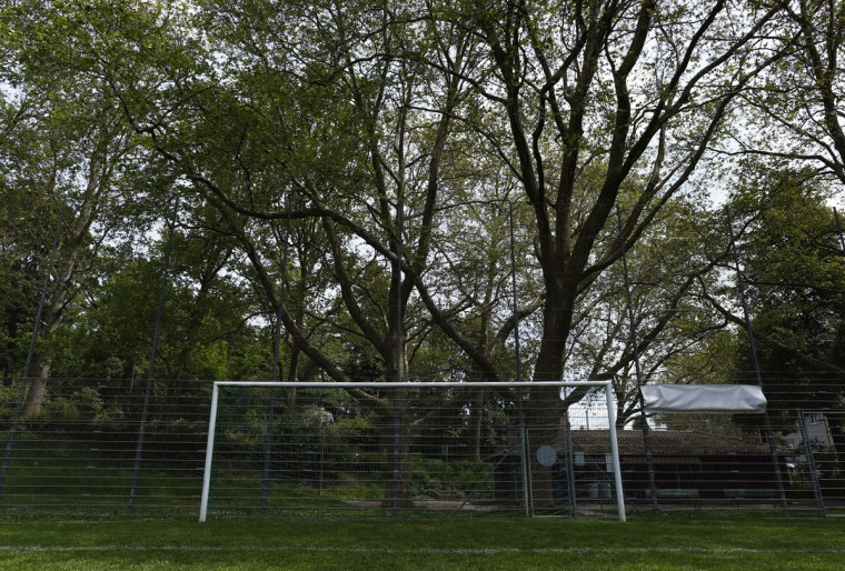 A goalpost stands in a public training ground in Bern, Switzerland on June 1, 2014. (REUTERS/Ruben Sprich)
