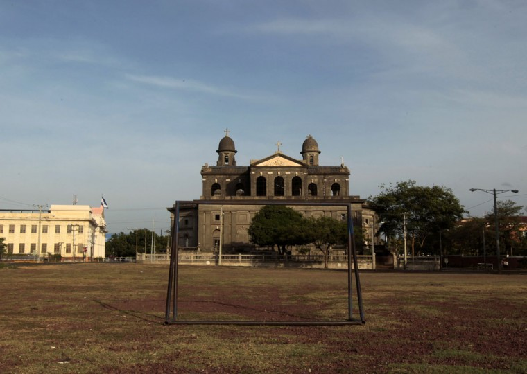A goalpost is seen behind of the old Metropolitan Cathedral of Managua, Nicaragua on June 4, 2014. (REUTERS/Oswaldo Rivas)