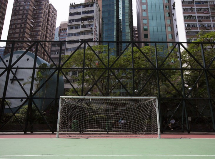 A soccer goalpost stands in Southorn playground in Hong Kong on May 30, 2014. (REUTERS/Tyrone Siu)