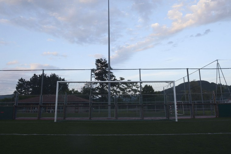 A goalpost stands in a sports field in Guernica, Basque Country, Spain on June 4, 2014. (REUTERS/Vincent West)