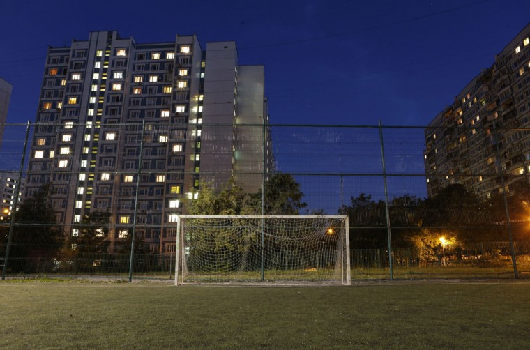 A soccer goalpost is seen in front of housing blocks in the district of Konkovo, Moscow, Russia on June 3, 2014. (REUTERS/Maxim Shemetov)