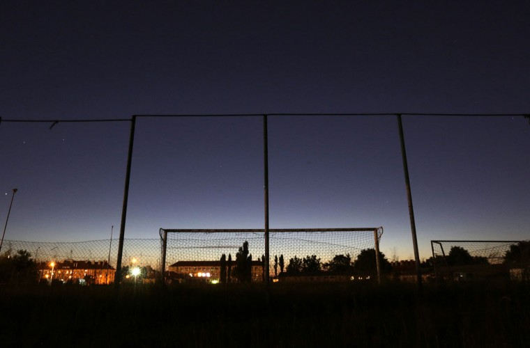 A goalpost stands in an abandoned soccer field on the outskirts of Prague, Czech Republic on May 31, 2014. (REUTERS/David W Cerny)