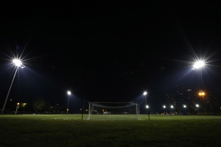 A soccer goalpost stands in a sports field in Lincoln Park in Chicago on May 30, 2014. (REUTERS/Jim Young)
