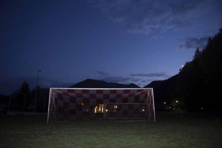 A soccer goalpost stands in a field of FC Real in Kreuth, southern Germany on June 1, 2014. (REUTERS/Lukas Barth)