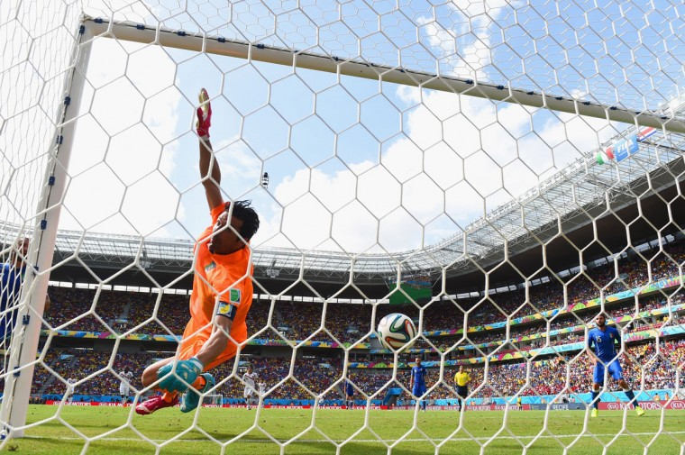 Bryan Ruiz of Costa Rica (not pictured) scores his team's first goal past Gianluigi Buffon of Italy during the 2014 FIFA World Cup Brazil Group D match between Italy and Costa Rica at Arena Pernambuco on June 20, 2014 in Recife, Brazil. (Photo by Jamie McDonald/Getty Images)