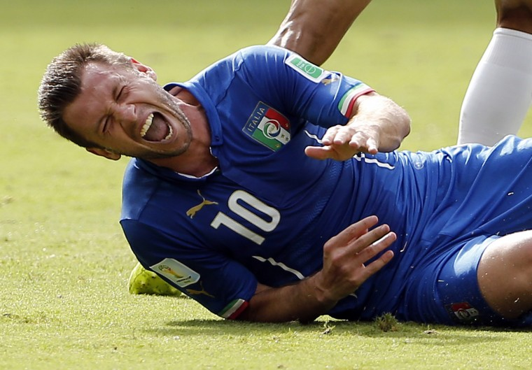 Italy forward Antonio Cassano (10) goes down in pain during the second half of their 1-0 loss to Costa Rica in a 2014 World Cup game at Arena Pernambuco. (Winslow Townson-USA TODAY Sports)