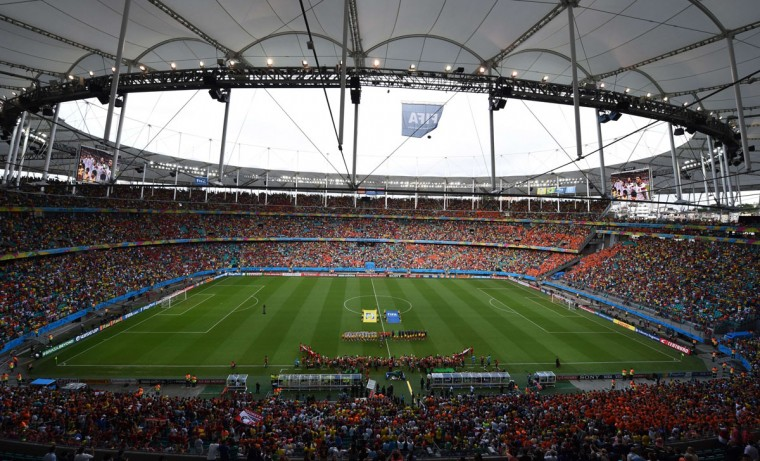General view before the Group B football match between Spain and the Netherlands at the Fonte Nova Arena in Salvador during the 2014 FIFA World Cup on June 13, 2014. (Dimitar Dilkoff/AFP/Getty Images)