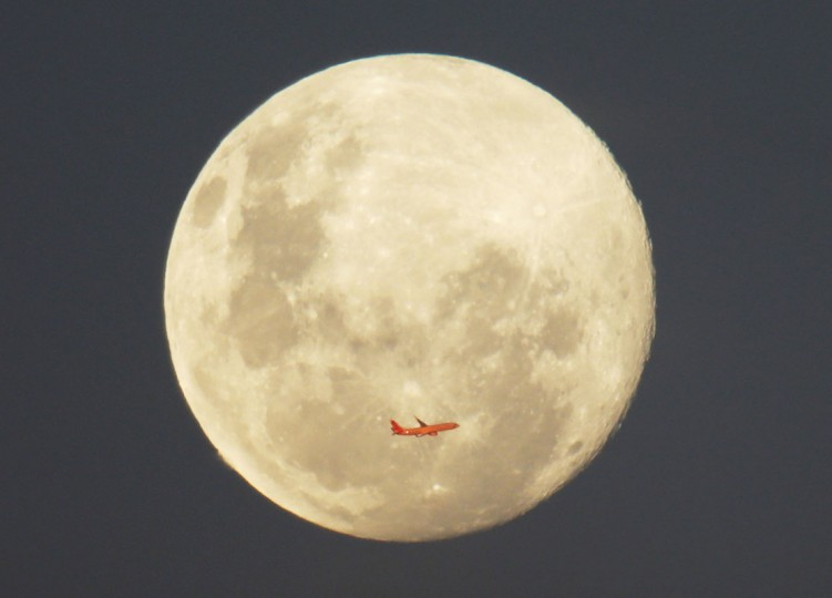 A Virgin Airlines commercial aircraft is illuminated by the setting sun in front of a full moon after taking off from Sydney Airport, June 12, 2014. (Jason Reed/Reuters)