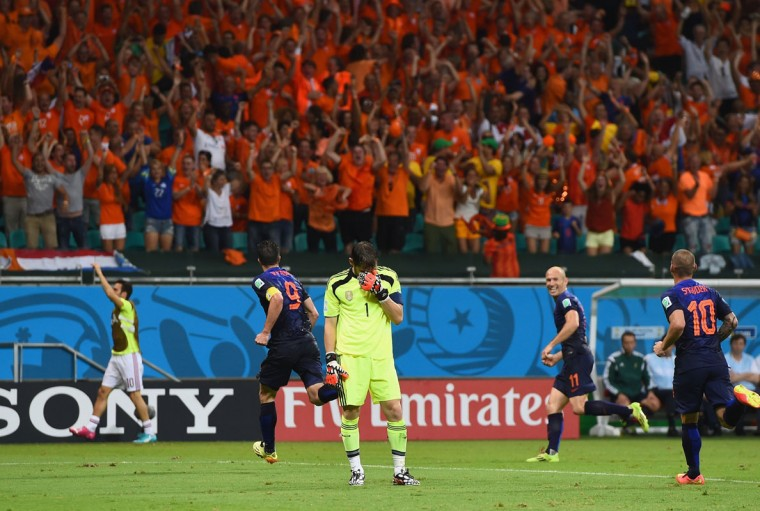 Iker Casillas of Spain reacts after allowing the Netherlands fourth goal to Robin van Persie during the 2014 FIFA World Cup Brazil Group B match between Spain and Netherlands at Arena Fonte Nova on June 13, 2014 in Salvador, Brazil. (Photo by David Ramos/Getty Images)