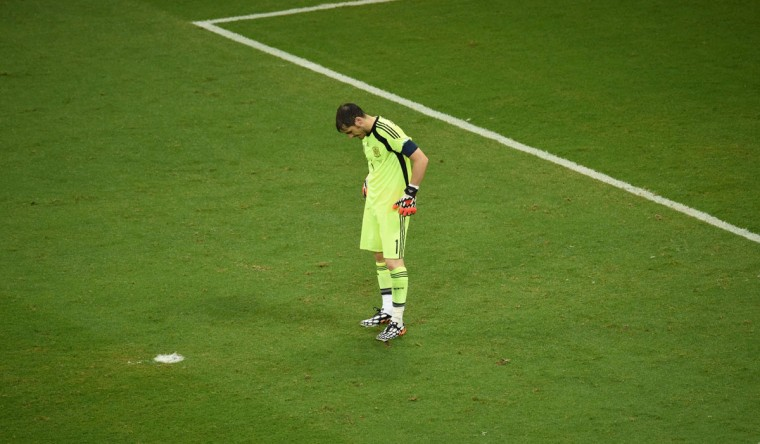 Spain's goalkeeper Iker Casillas reacts during a Group B football match between Spain and the Netherlands at the Fonte Nova Arena in Salvador during the 2014 FIFA World Cup on June 13, 2014. (Dimitar Dilkoff/AFP/Getty Images)
