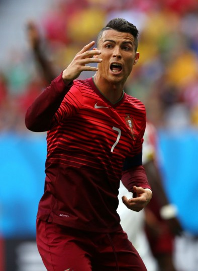Cristiano Ronaldo of Portugal reacts after a missed chance during the 2014 FIFA World Cup Brazil Group G match between Portugal and Ghana at Estadio Nacional on June 26, 2014 in Brasilia, Brazil. (Elsa/Getty Images)