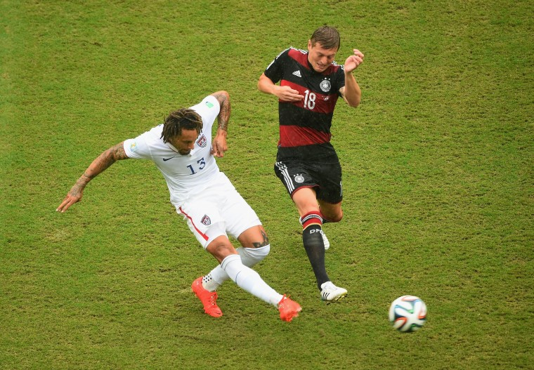 Jermaine Jones of the United States controls the ball against Toni Kroos of Germany during the 2014 FIFA World Cup Brazil group G match between the United States and Germany at Arena Pernambuco on June 26, 2014 in Recife, Brazil. (Photo by Laurence Griffiths/Getty Images)