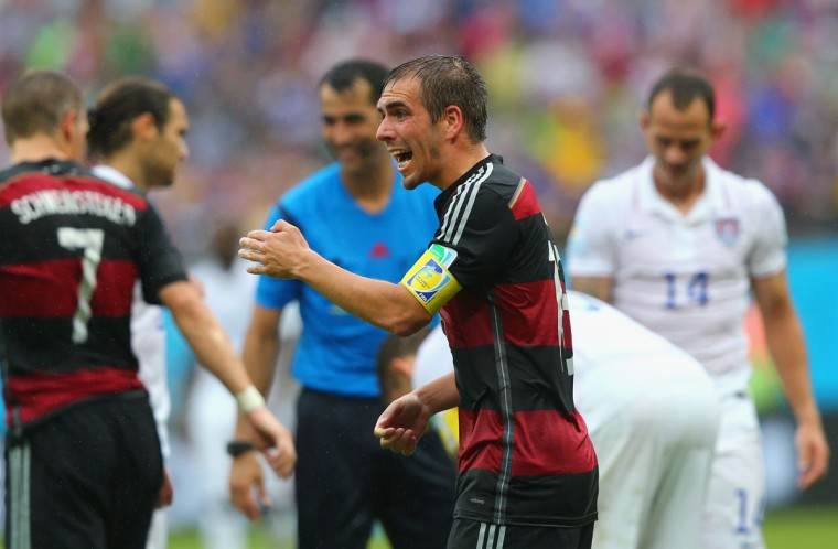 Philipp Lahm of Germany reacts during the 2014 FIFA World Cup Brazil group G match between the United States and Germany at Arena Pernambuco on June 26, 2014 in Recife, Brazil. (Photo by Martin Rose/Getty Images)