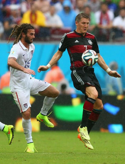 Bastian Schweinsteiger of Germany controls the ball against Kyle Beckerman of the United States during the 2014 FIFA World Cup Brazil group G match between the United States and Germany at Arena Pernambuco on June 26, 2014 in Recife, Brazil. (Photo by Martin Rose/Getty Images)