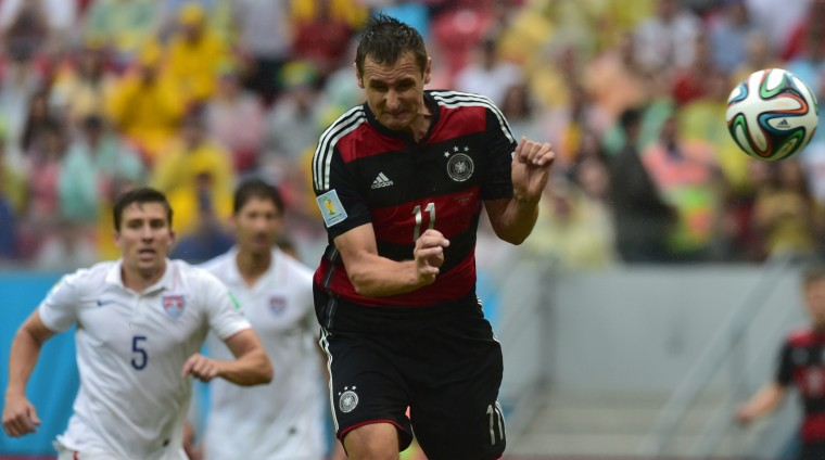 Germany's forward Miroslav Klose plays the ball during a Group G football match between US and Germany at the Pernambuco Arena in Recife during the 2014 FIFA World Cup on June 26, 2014. (Nelson Almeida/AFP/Getty Images)