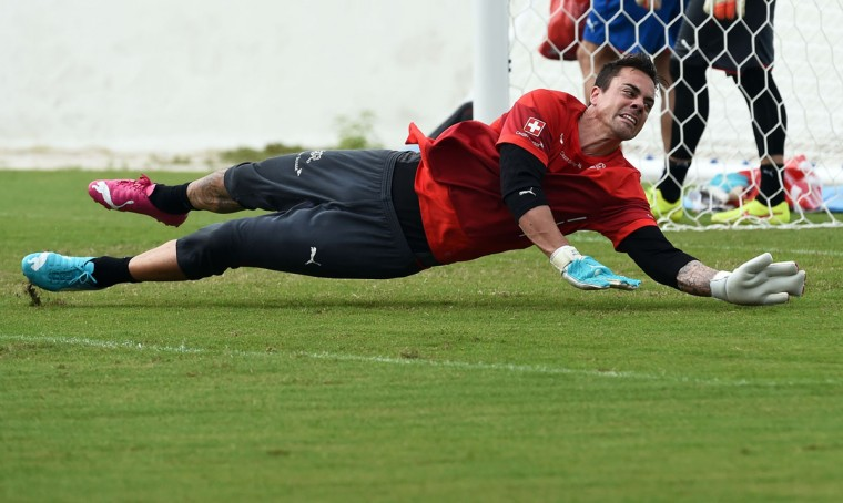 Switzerland's goalkeeper Diego Benaglio attends a training session on June 28, 2014 at the Municipal Stadium in Porto Seguro, during the 2014 FIFA World Cup football tournament in Brazil. (Anne-Christine Poujoulat/AFP/Getty Images)