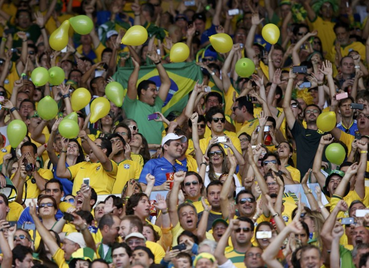Brazil fans cheer before the 2014 World Cup round of 16 game between Brazil and Chile at the Mineirao stadium in Belo Horizonte June 28, 2014. (Toru Hanai/Reuters)