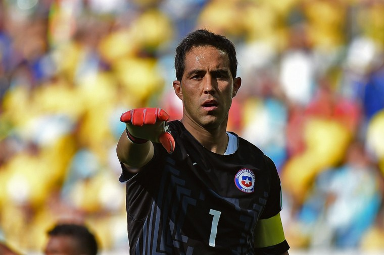 Chile's goalkeeper and captain Claudio Bravo gestures during the Round of 16 football match between Brazil and Chile at the Mineirao Stadium in Belo Horizonte during the 2014 FIFA World Cup on June 28, 2014. (Martin Bernetti/AFP/Getty Images)