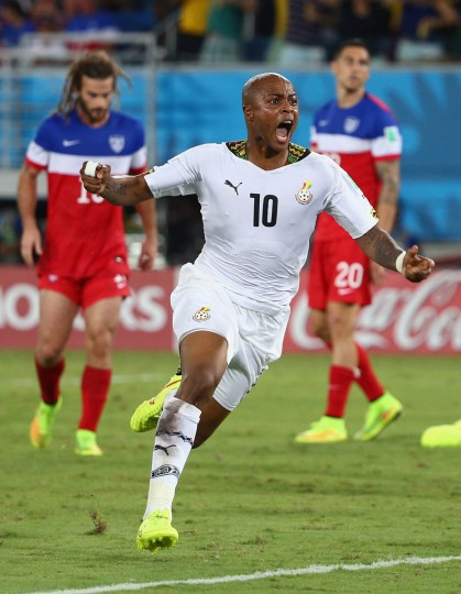 Andre Ayew of Ghana celebrates after scoring his team's first goal during the 2014 FIFA World Cup Brazil Group G match between Ghana and the United States at Estadio das Dunas on June 16, 2014 in Natal, Brazil. (Robert Cianflone/Getty Images)