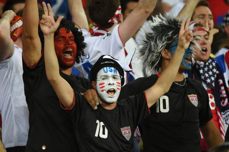 US fans cheer during a Group G football match between Ghana and US at the Dunas Arena in Natal during the 2014 FIFA World Cup on June 16, 2014. (Emmanuel Dunand/Getty Images)