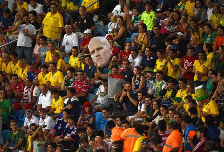 A United States fan holds a cutout of Michael Bradley during the 2014 FIFA World Cup Brazil Group G match between Ghana and the United States at Estadio das Dunas on June 16, 2014 in Natal, Brazil. (Laurence Griffiths/Getty Images)