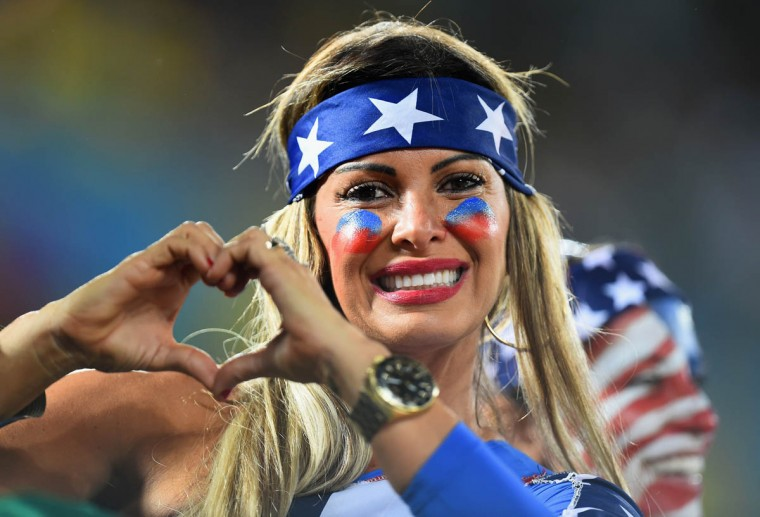 A fan of the the United States poses during the 2014 FIFA World Cup Brazil Group G match between Ghana and the United States at Estadio das Dunas on June 16, 2014 in Natal, Brazil. (Jamie McDonald/Getty Images)