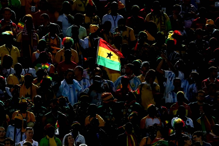 A Ghana flag is seen on the stands during the 2014 FIFA World Cup Brazil Group G match between Ghana and the United States at Estadio das Dunas on June 16, 2014 in Natal, Brazil. (Kevin C. Cox/Getty Images)