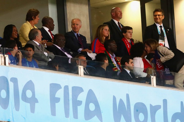 Vice President Joe Biden looks on during the 2014 FIFA World Cup Brazil Group G match between Ghana and the United States at Estadio das Dunas on June 16, 2014 in Natal, Brazil. (Kevin C. Cox/Getty Images)