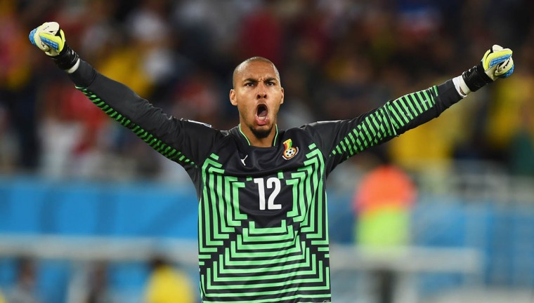 Adam Kwarasey of Ghana celebrates his team's first goal during the 2014 FIFA World Cup Brazil Group G match between Ghana and the United States at Estadio das Dunas on June 16, 2014 in Natal, Brazil. (Jamie McDonald/Getty Images)