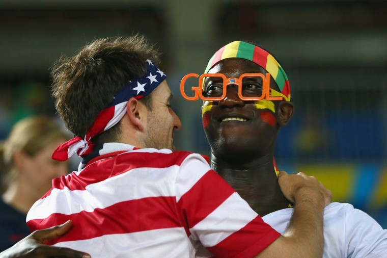 Fans of Ghana and the United States cheer during the 2014 FIFA World Cup Brazil Group G match between Ghana and the United States at Estadio das Dunas on June 16, 2014 in Natal, Brazil. (Kevin C. Cox/Getty Images)