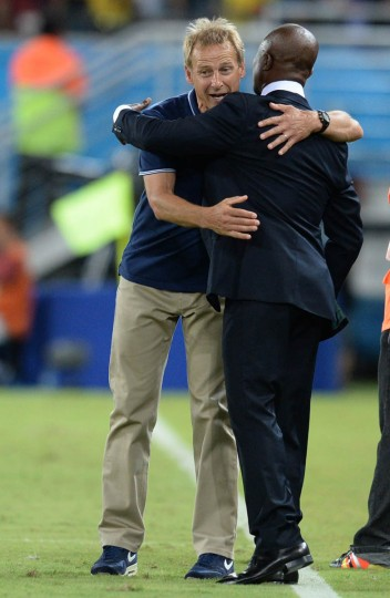 Ghana's coach Kwesi Appiah (Right) congratulates US German coach Juergen Klinsmann (Left) after a Group G football match between Ghana and US at the Dunas Arena in Natal during the 2014 FIFA World Cup on June 16, 2014. (Carl De Souza/Getty Images)