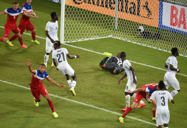 US defender John Brooks (Left) celebrates after scoring during a Group G football match between Ghana and US at the Dunas Arena in Natal during the 2014 FIFA World Cup on June 16, 2014. ( Javier Soriano/Getty Images)