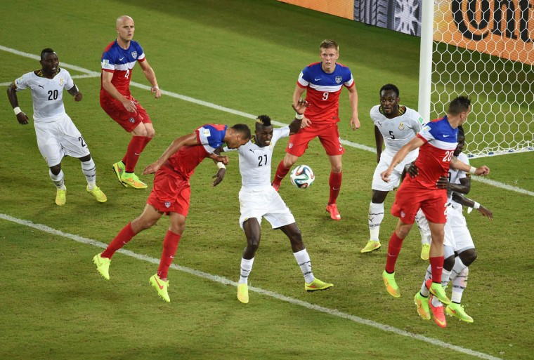 US defender John Brooks (3rd from left) scores during a Group G football match between Ghana and US at the Dunas Arena in Natal during the 2014 FIFA World Cup on June 16, 2014. (Javier Soriano /Getty Images)