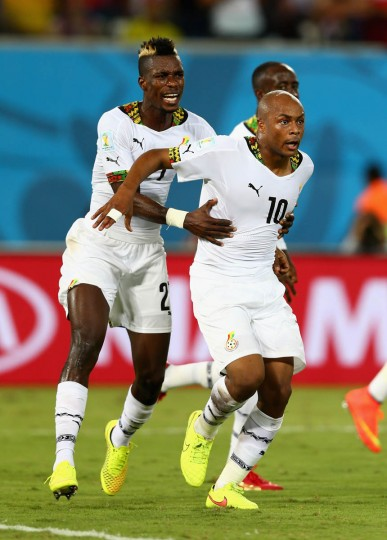 Andre Ayew of Ghana and John Boye celebrate after scoring their team's first goal during the 2014 FIFA World Cup Brazil Group G match between Ghana and the United States at Estadio das Dunas on June 16, 2014 in Natal, Brazil. (Michael Steele/Getty Images)