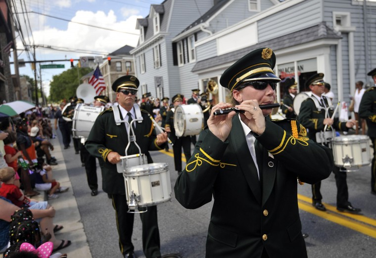 Westminster Municipal Band plays in the Catonsville Fourth of July parade on Bloomsbury Avenue, July 4, 2013. (Kim Hairston/Baltimore Sun)