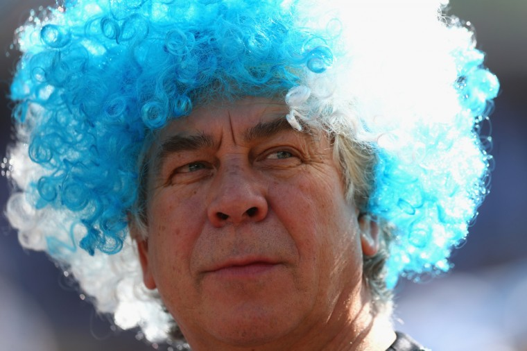 An Argentina fan enjoys the atmosphere prior to the 2014 FIFA World Cup Brazil Round of 16 match between Argentina and Switzerland at Arena de Sao Paulo on July 1, 2014 in Sao Paulo, Brazil. (Ronald Martinez/Getty Images)