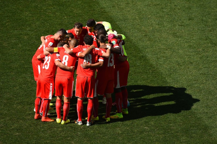 Switzerland huddle prior to the 2014 FIFA World Cup Brazil Round of 16 match between Argentina and Switzerland at Arena de Sao Paulo on July 1, 2014 in Sao Paulo, Brazil. (Matthias Hangst/Getty Images)