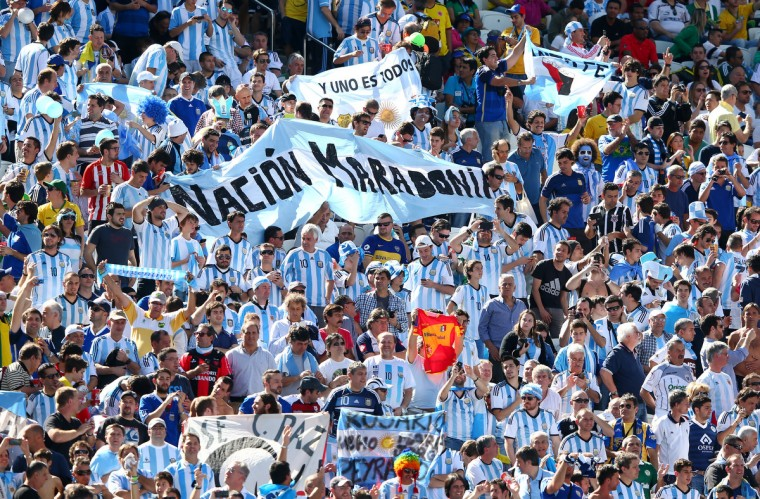 Argentina fans cheer prior to the 2014 FIFA World Cup Brazil Round of 16 match between Argentina and Switzerland at Arena de Sao Paulo on July 1, 2014 in Sao Paulo, Brazil. (Jamie Squire/Getty Images)