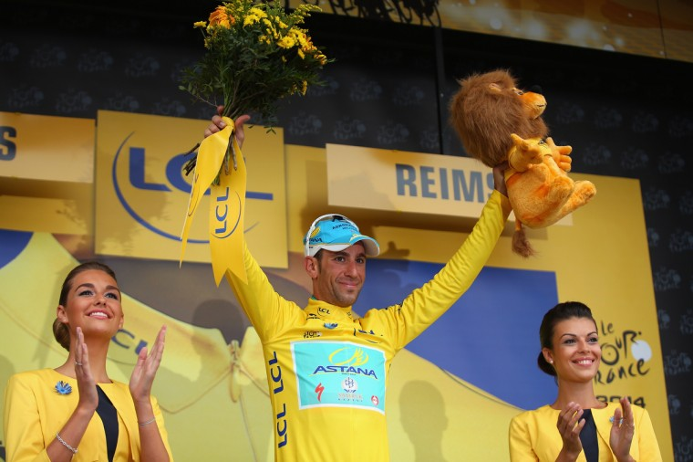 Vincenzo Nibali of Italy and the Astana Pro Team retained his race leaders yellow jersey after stage six of the 2014 Tour de France, a 194km stage between Arras and Reims, on July 10, 2014 in Reims, France. (Bryn Lennon/Getty Images)