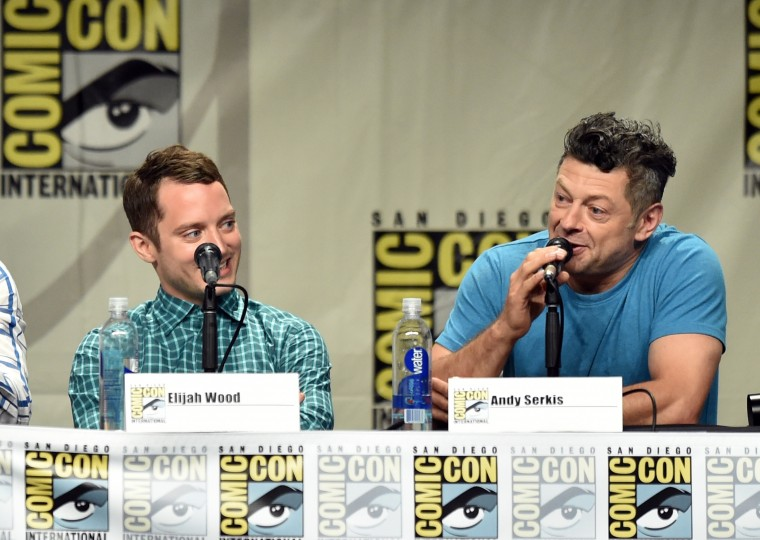 Actors Elijah Wood (L) and Andy Serkis attend the Warner Bros. Pictures panel and presentation during Comic-Con International 2014 at San Diego Convention Center on July 26, 2014 in San Diego, California. (Photo by Kevin Winter/Getty Images)