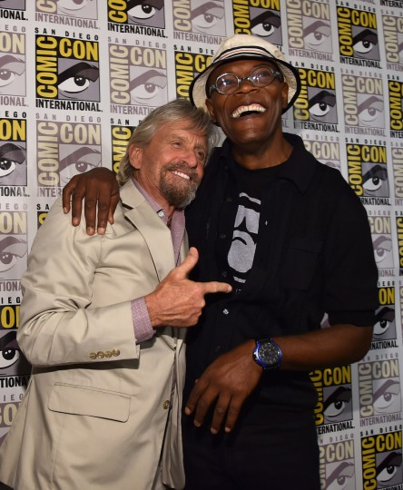 "Actors Michael Douglas and Samuel L. Jackson attend Marvel's Hall H Press Line for ""Ant-Man"" and ""Avengers: Age Of Ultron"" during Comic-Con International 2014 at San Diego Convention Center on July 26, 2014 in San Diego, California. ( Alberto E. Rodriguez/Getty Images)"
