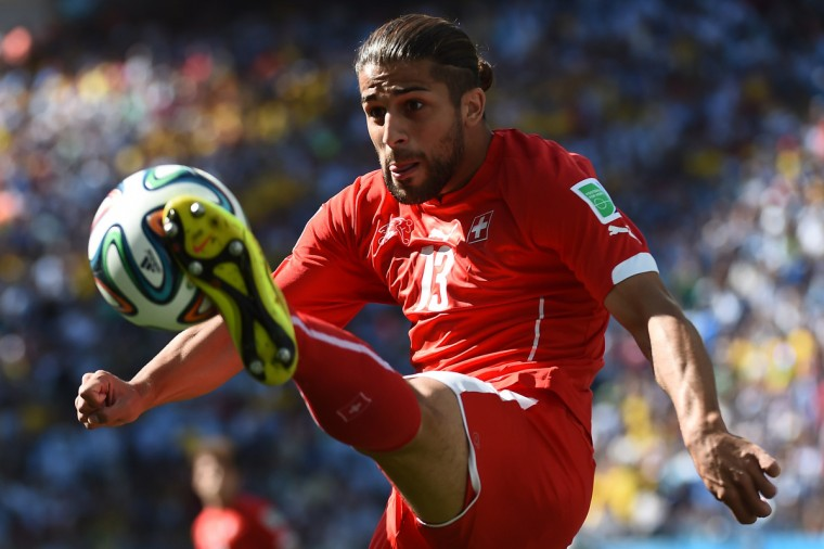 Switzerland's defender Ricardo Rodriguez controls the ball during the Round of 16 football match between Argentina and Switzerland at the Corinthians Arena in Sao Paulo during the 2014 FIFA World Cup on July 1, 2014. (Anne-Christine Poujoulat/Getty Images)