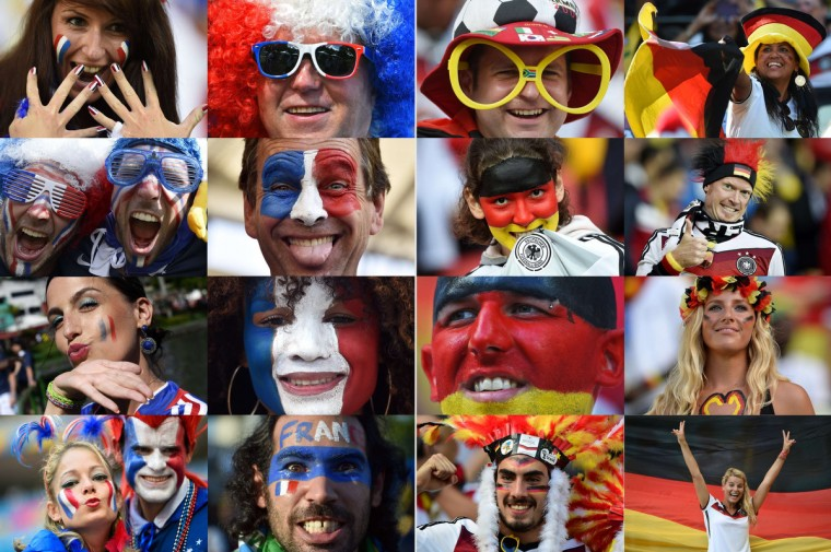 A combination of pictures taken in June 2014 shows supporters of The France (at L) and Germany (at R) during the 2014 FIFA World Cup in Brazil. The France will play against Germany in the quarter-finals of the tournament on July 4, 2014 at The Maracana Stadium in Rio de Janeiro. (Getty Images)