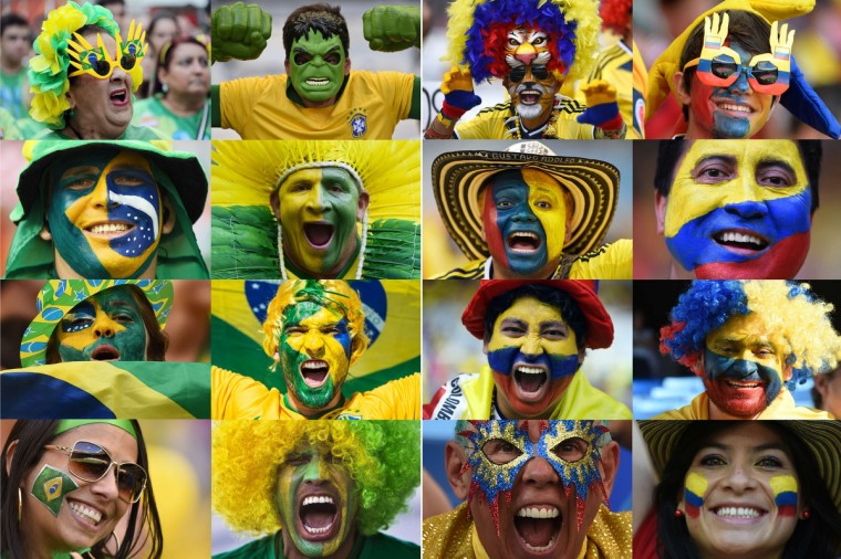 A combination of pictures taken in June 2014 shows supporters of The Brazil (at L) and Colombia (at R) during the 2014 FIFA World Cup in Brazil. The Brazil will play against Colombia in the quarter-finals of the tournament on July 4, 2014 at Castelao Stadium in Fortaleza. (Getty Images)